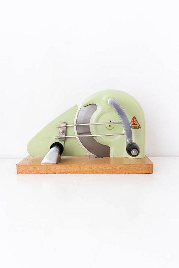 Vintage food slicer Hand crank slicer Retro kitchen Mid century modern Brunner bread slicer Meat slicer by TimeTestedFinds
