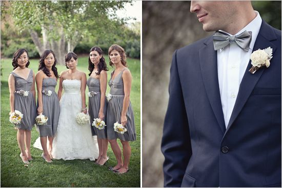 2 different gray bridesmaids dresses..yellow in the bouquet...and navy blue groomsmen! I do like that look