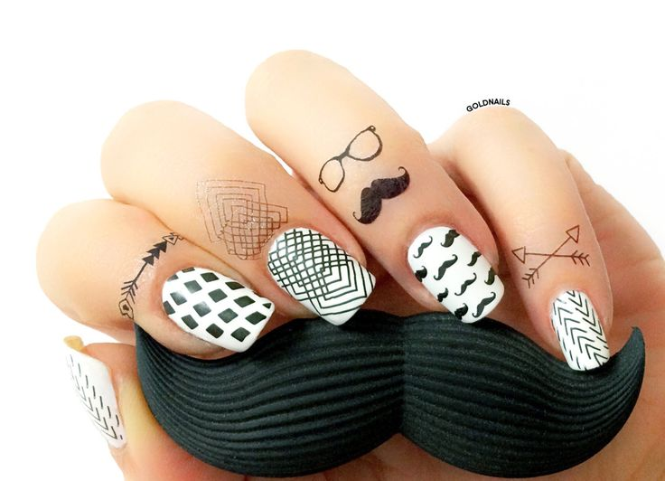 Hipster Nail art design using Moyou London Hand Tattos and stamping plates
