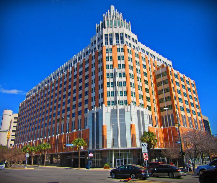 Art Deco inspired building near the Historic Market Square Building in San Antonio, Texas