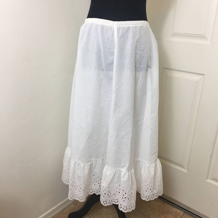Western Style Petticoat, Vintage Lace Slip, Eyelet Lace Petticoat, Ladies Slip, Pioneer Petticoat, Vintage Clothing, CircleT, Size Small by GiftGarbBags on Etsy