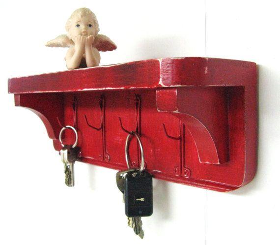 SHABBY COTTAGE KEYRACK - w/ vintage curtain hooks and shelf - all reclaimed material - Key Holder - Key Hooks - Jewelry Organizer - Jewelry on Etsy, $20.00