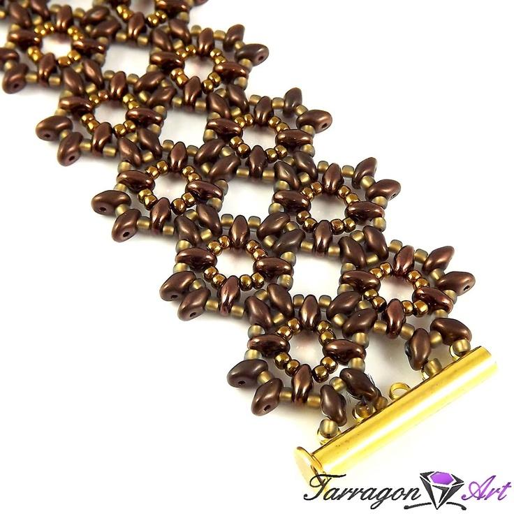 Bransoletka Beaded Elegance - Golden Bronze   Tarragon Art - stylowa biżuteria artystyczna