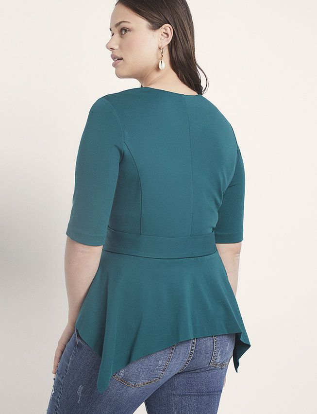 Short Sleeve Peplum Jacket with Belt | Women's Plus Size Coats + Jackets 5