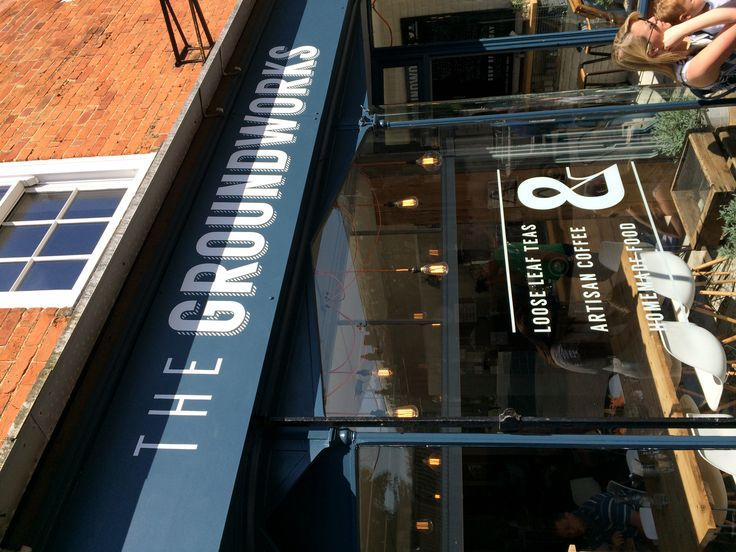 Traditional signwriting for this coffee shop in Hitchin