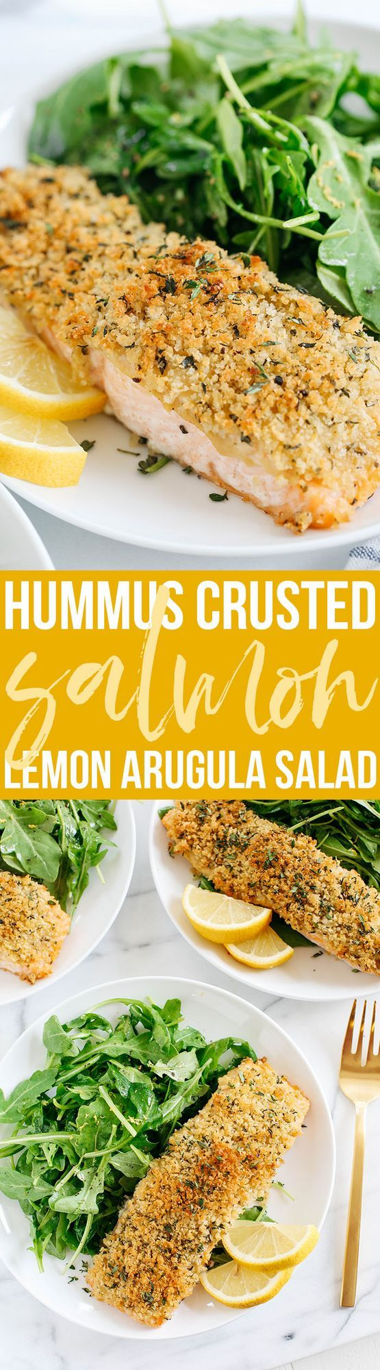 Hummus Crusted Salmon baked to perfection and served with a delicious Lemon Arugula Salad for the perfect healthy weeknight meal ready in under 30 minutes! This post was sponsored by Alaska Seafood as