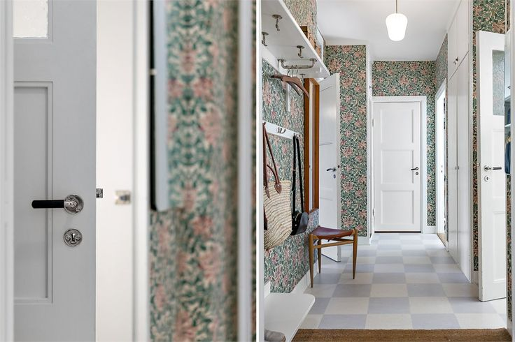 William Morris wallpaper and checkered floors hallway