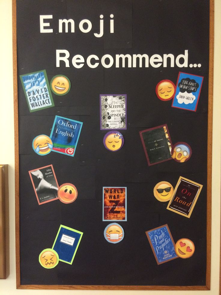 Emoji Recommended Reads! Library Bulletin Board                              …