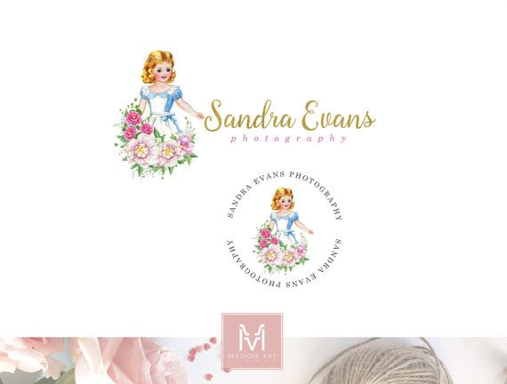 Vintage Girl Logo,Floral Logo ,Romantic Logo, Watercolor Logo, Peonies Logo, Photography Logo, Boutique Logo ,Shabby Chic Logo, Watermark