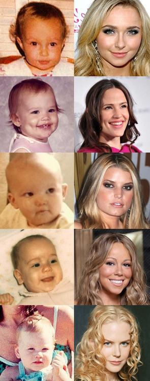 Top to Bottom: Hayden Panettiere, Jennifer Garner, Jessica Simpson, Mariah Carey, and Nicole Kidman