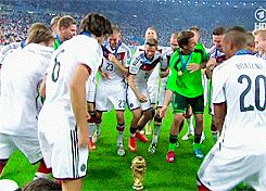 The boys doing a special world cup victory dance thing