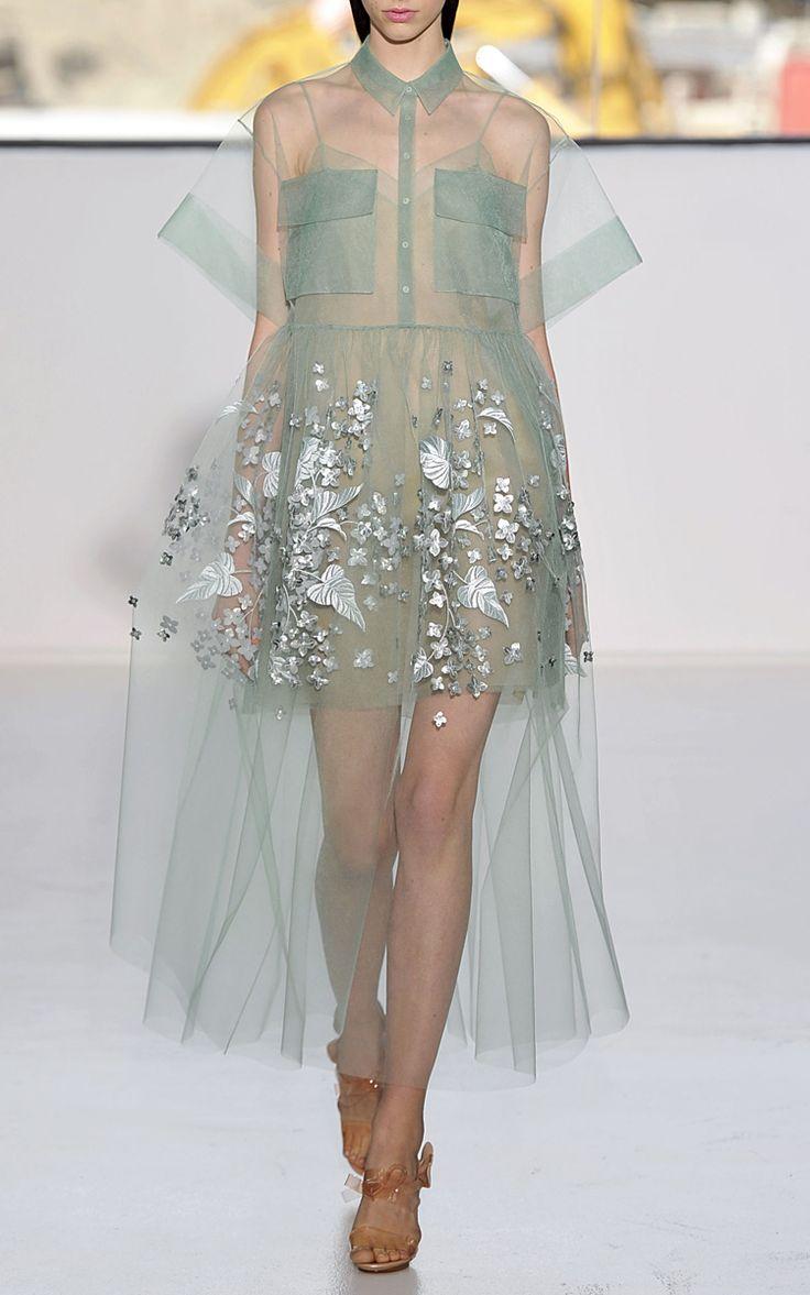 【Delpozo】Blue Print Embroidered Bobbinet Tulle Dress $17,200