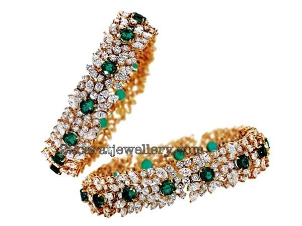 Jewellery Designs: Diamond and Gold Bangles