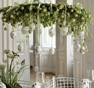 easter decoration.I am creating this on my kitchen chandelier but with purple metallic eggs .Too cute!