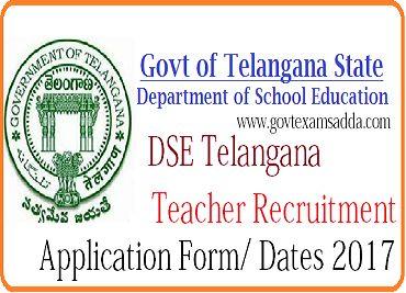 DSE Telangana Recruitment 2017, 8792 Teacher Vacancy Notification, ts dse teacher bharti online Application form/ exam date 2017, ts dse teacher eligibility