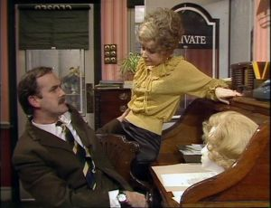 """John Cleese as Basil Fawlty and Prunella Scales as Sybil Fawlty, Fawlty Towers, """"Communication Problems"""""""