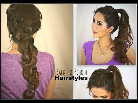 ▶ ★2 CUTE SCHOOL HAIRSTYLES: HAIR TUTORIAL FOR MEDIUM LONG HAIR | KATNISS BRAID CURLY PONYTAIL UPDOS - YouTube