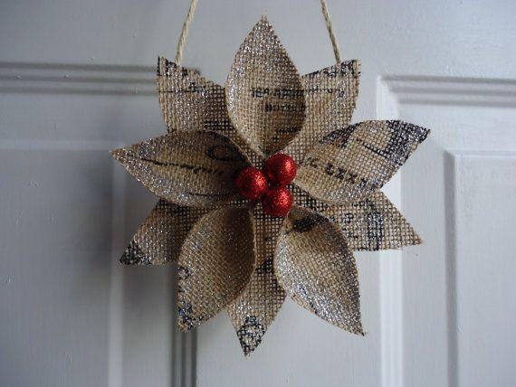 Christmas Ornament Burlap Christmas by adorableaDOORnments