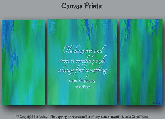 Green  teal blue motivational abstract art for home or office