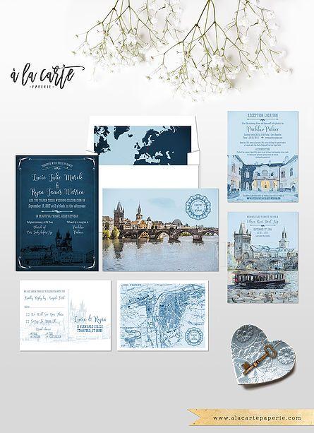 Prague Czech Republic Eastern Europe Destination wedding invitation Set Illustrated invitation  Romatic Charles Bridge Prague wedding navy blue