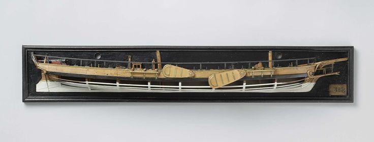 Anonymous | Halfmodel van een kanonneergalei van 5 stukken, Anonymous, 1800 | Mallenmodel (stuurboord) van een tweemast platbodem. De huid boven het barkhout is gesloten en gedetailleerd met twee zwaarden en twee rusten met drie jufferblokken; reling met geschutpoort in de zijde bij het achterdek. Het dek is gesloten met een verheven geschutstelling op het voordek naast de fokkemast, een kanon op rolpaard in middenachter, een oven, een braadspil, een knecht, een pomp, een schoorsteen…