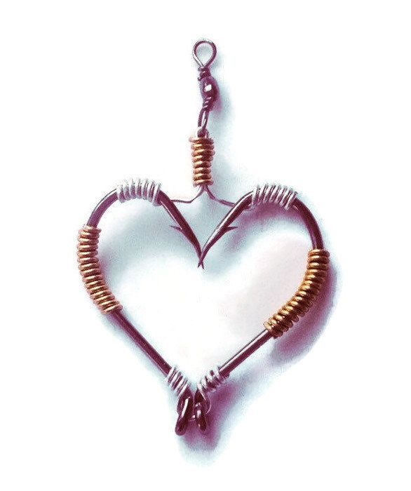Wire Wrapped Fish Hook Necklace/Fishing Hook Pendant/Heart/Real Fish Hooks/fish hook Jewelry/made to Order  https://www.etsy.com/listing/212474591/wire-wrapped-fish-hook-necklaceunique