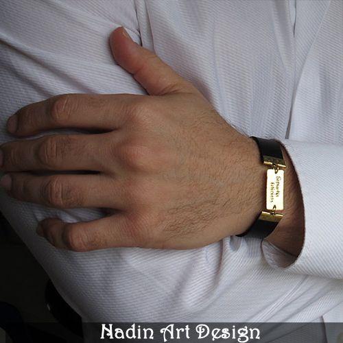 Verstellbar Lederarmband mit Gravur für Männer von NadinArtDesign auf DaWanda.com