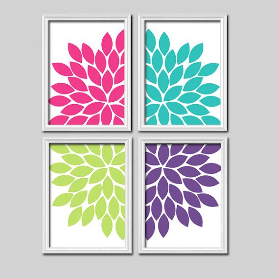Pink Turquoise Lime Purple Flourish Design Artwork Set of 4 Prints Dahlia Bloom Flowers Bedroom Wall Decor Floral Art Pictures on Etsy, $35.65 CAD