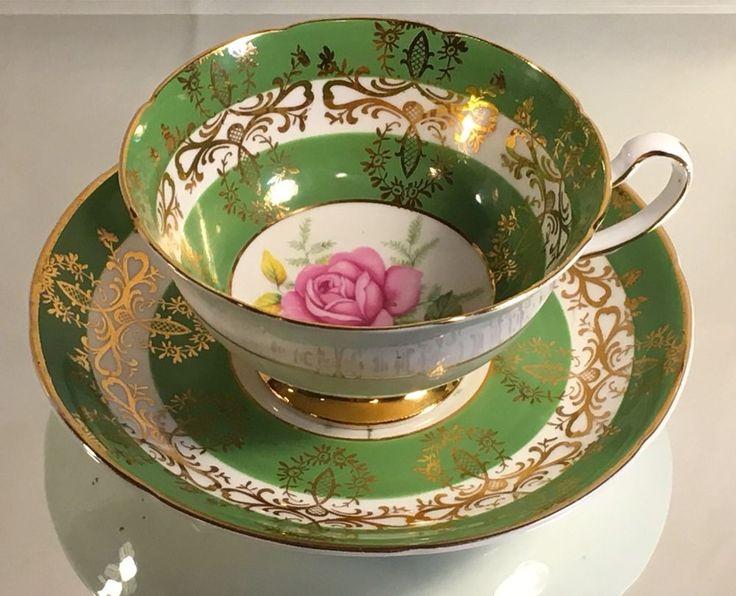 Vintage Royal Grafton Aqua Bands Cup and Saucer Set Bone China England Gold Trim    eBay