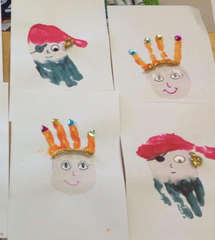 Princess and pirate handprints.