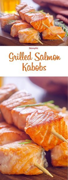 Try these Grilled Salmon Kebobs at your next bbq! I'm definitely grilling these up for 4th of July! #skinnyms #yum