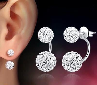 Geld verliezen promotie groothandel shambhala dubbele bal ontwerp 30% procent verzilverde dames oorbellen sieraden 1 paar/partij