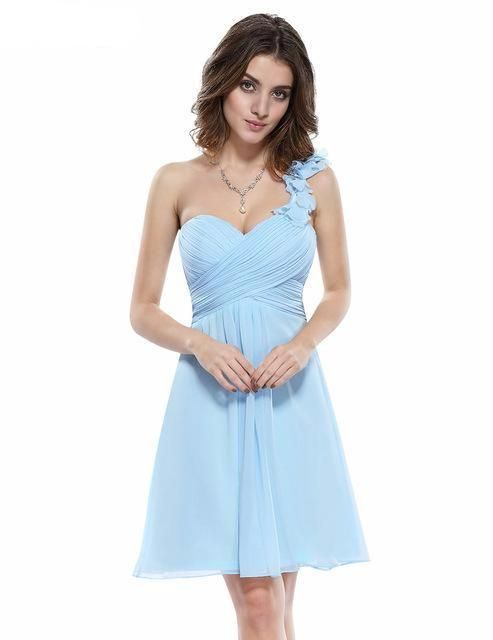 Bridesmaid Party Dresses One Shoulder Flowers Padded Ruffles Short  Wedding. Gorgeous cocktail dress Unadjustable one shoulder style Non-removable flowers dec