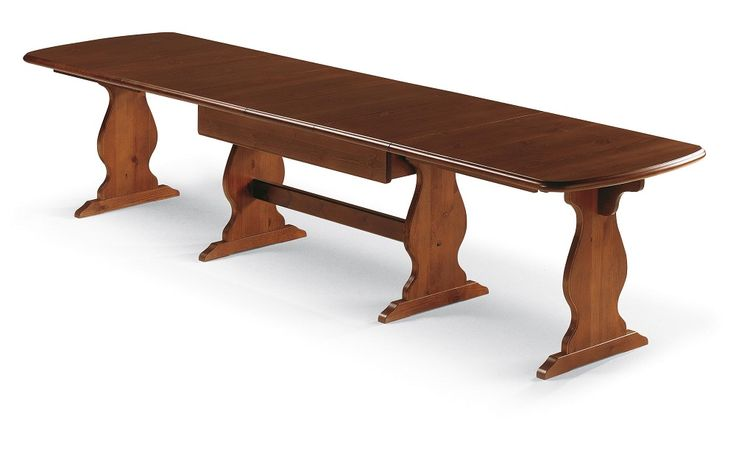 Tavolo fratino in legno massiccio da cm. 190 x 90 allungabile fino a cm. 360. Produzione e vendita mobili rustici DEMAR MOBILI. #tavoli #mobili #produzione #arredamenti #demarmobili www.demarmobili.it