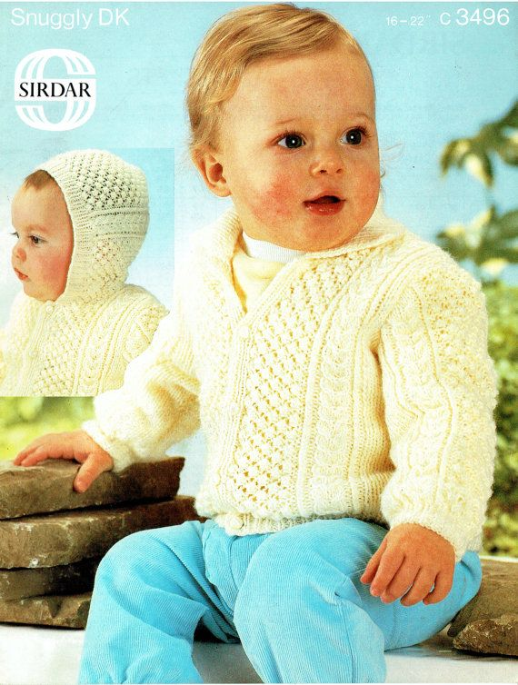 PDF Vintage Sirdar 3496 Baby 2 Bonny ARAN and Bobbles Galore Cardigans Matching Set Knitting Pattern