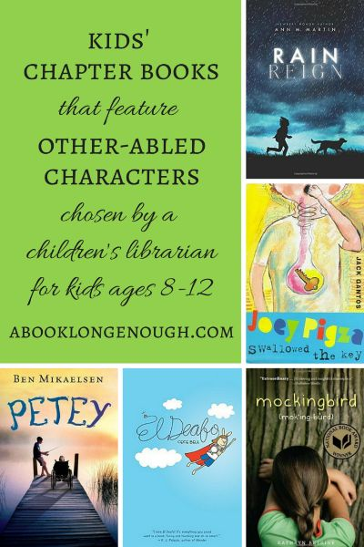 "14 chapter books for kids ages 8-12 that feature a main character who is ""other-abled"" or has a ""disability."" These include cerebral palsy, deafness, autism, ADHD, Asperger's, paralysis, learning disabilities, stuttering, dyslexia, and physical disfigurement. Chosen by a children's librarian."