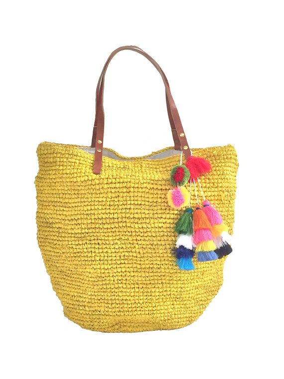 Large Straw BagStraw Beach Tote Oversized Beach Bag by MOOSSHOP