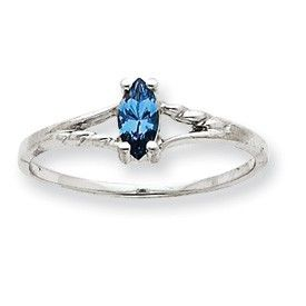 Petite 10K White Gold Blue Topaz Birthstone Ring - a sterling silver ring