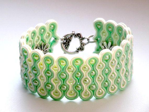 Pistachio&Almond  soutache bracelet by Bajobongo on Etsy, $35.00