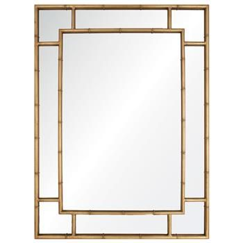 Gable Hollywood Regency Distressed Gold Leaf Iron Bamboo Mirror