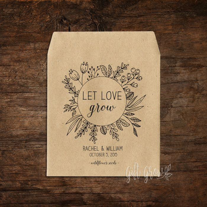 Black Floral Wildflower Wreath Wedding Seed Packets