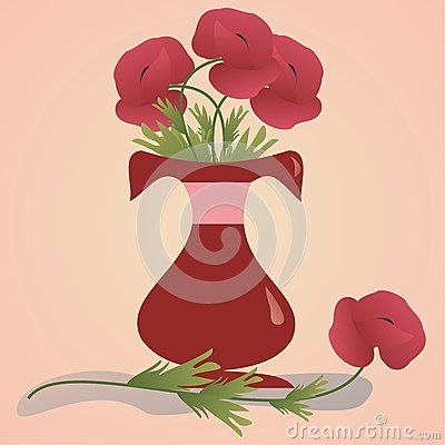 Red flower vase with poppy flowers