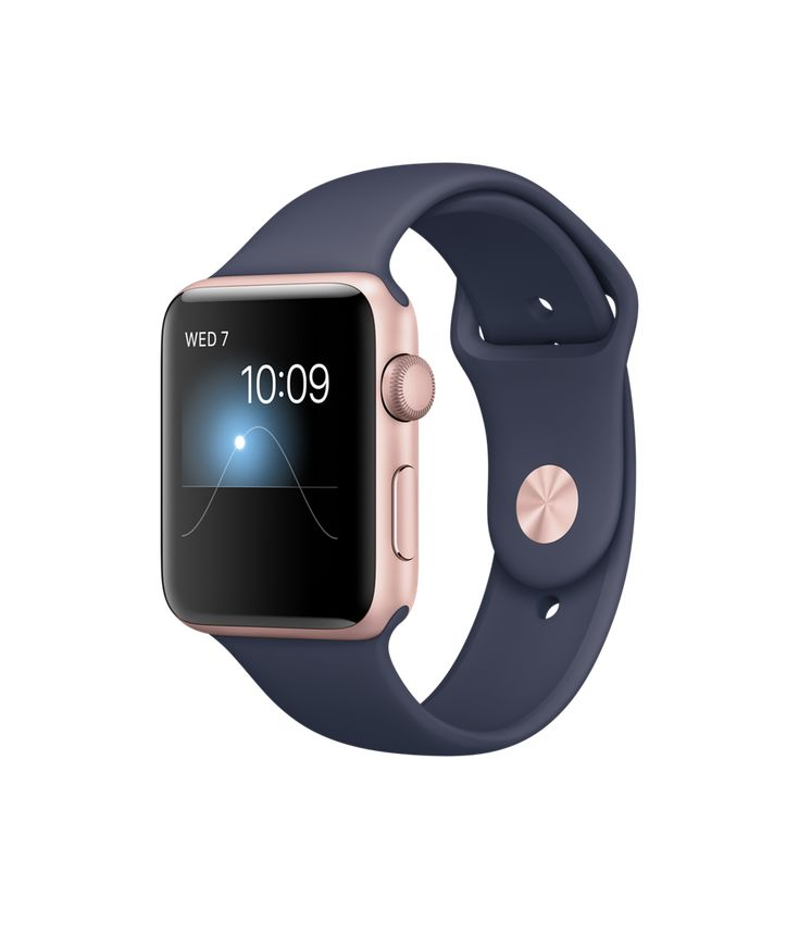 Apple Watch - Rose Gold Aluminum Case with Midnight Blue Sport Band - Apple
