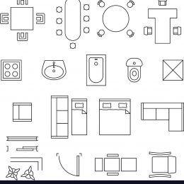 Floor Plan With Furniture Furniture linear symbols Floor