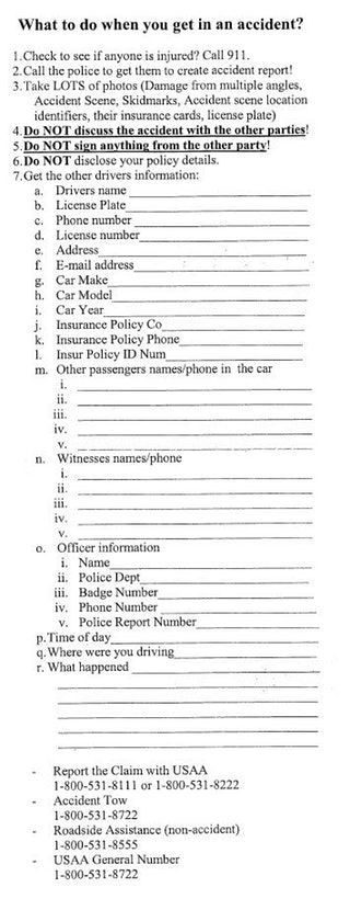 LPT: After a car accident, step-by-step checklist. Getting into a car accident can be jarring and emotional, even if it's a small fender bender. Make a checklist to help take the thinking out of what information to collect. : LifeProTips