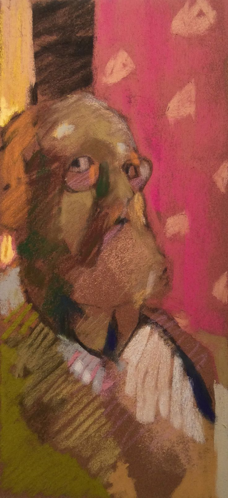 "Studio Portrait with Red and Yellow. 2015. Pastel. 12"" x 5.6"" Casey Klahn."