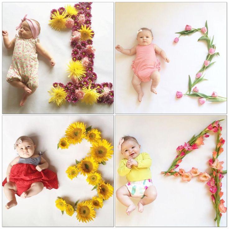 creative baby photos flowers