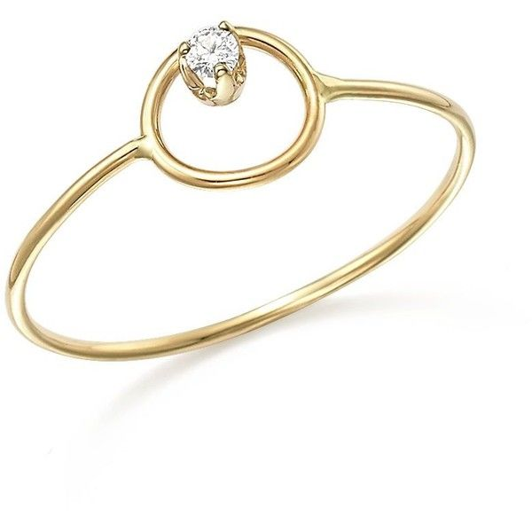 Zoe Chicco 14K Yellow Gold Paris Small Circle Diamond Ring ($210) ❤ liked on Polyvore featuring jewelry, rings, diamond rings, gold jewellery, 14k diamond ring, circle ring and diamond stackable rings