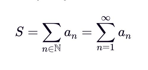 """An infinite series is a sum of an infinite number of terms. Of course, the indexing can start at any integer, but by the most common starting indices are  0 0  and  1 1 . Regarding the second summation notation, of course there is no """"infinity-th"""" term, as infinity is an not an integer; however, the notation is a convenient way for us to say that we take the summation over all natural numbers. ... See more at expii."""
