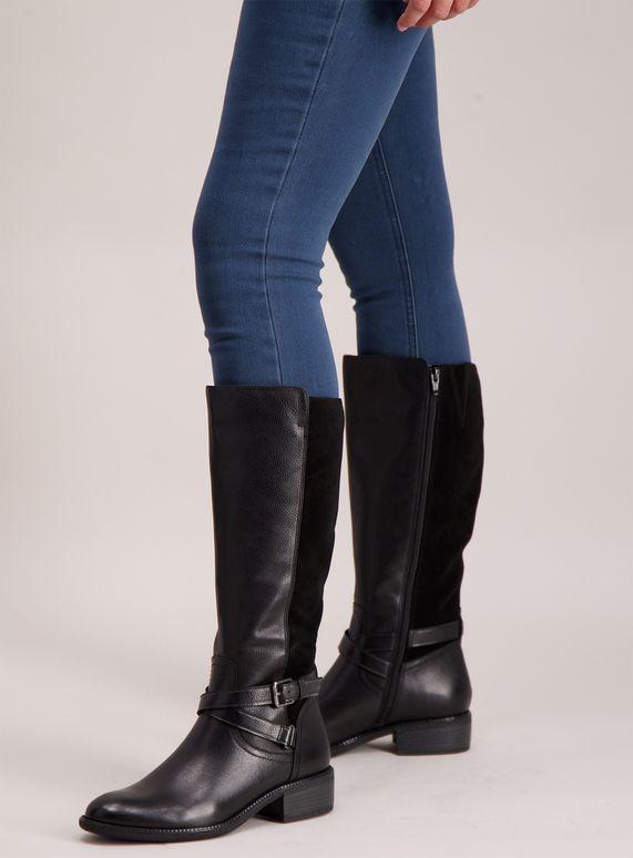 d041871c4da Sole Comfort Black Leather & Suede Riding Boots | Clothes | Boots ...